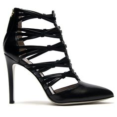 Jason Wu Leather Cage Heel (1 685 AUD) ❤ liked on Polyvore featuring shoes, pumps, heels, sandals, sapatos, kirna zabete, black leather shoes, black pointed-toe pumps, leather pumps and pointed-toe pumps