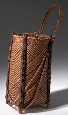 Africa | Basket with wooden struts from the Mangbetu people of Medje, Congo (Belgian Congo) | Plant fiber, cord and wood | ca. 1915