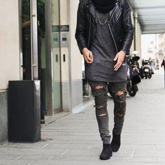 love this street style! so edgy !~ Black Platine ... By @champaris75  #champaris by champaris75