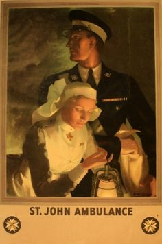 St John Ambulance, 1930s - original vintage poster by Anna Zinkeisen listed on AntikBar.co.uk