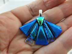 MINI ABSTRACT FAN in BLUE - Unique Dichroic Glass Pendant  + Free Cord by Cheryl Smith