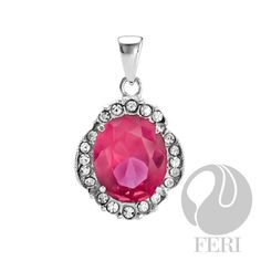 FERI Fuchsia Fancy - Pendant - 925 fine sterling silver - micron natural rhodium plating - Set with AAA white cubic zirconia and fuchsia cubic zirconia - Dimension: Invest with confidence in FERI Designer Lines Sterling Silver Pendants, Sterling Silver Jewelry, 925 Silver, Jewelry For Her, Fine Jewelry, Valentines Gifts For Her, Luxury Jewelry, Pretty In Pink, Jewelry Design