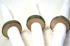 Wood napkin rings for rustic home decor - set of 8 from pine wood