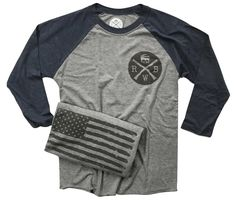 Men's Old Glory Baseball Raglan T Shirt (Heather Gray / Navy)