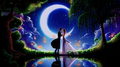 Art paintings, moonlight dating boyfriend and girlfriend