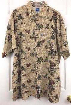 Marc Ecko Blue Rhino Exhibit Warriors Samurai Kung Fu Button Shirt Size XL   Ecko  ButtonFront fb53a07ce