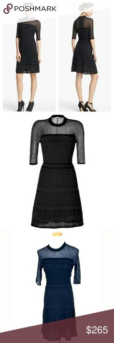 M Missioni Deft knit stitches richly texture a fluid black dress that offers trend-right transparency with a sheer yoke and elbow-length sleeves. Lined. Care tag cut, as it was visible when wearing. Retailer listing states: Nylon/viscose rayon/cotton/wool/alpaca; hand wash. Photo of bust lightened to show fabric detail. 5th photo shows two small snags, other wise excellent condition. Stretchy & comfortable. Itialian size 40 = 4 Bust 15 (flat) Length 41 No Trade or PP Bundle discounts Offers…