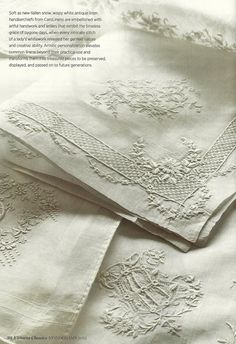 Stunning whitework embroidery and monograms on these antique linen handkerchiefs