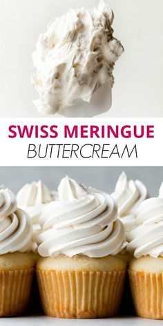 Learn how to make perfect Swiss meringue buttercream with this in-depth tutorial, 5 ingredient recipe, troubleshooting guide, and helpful video. Best Dessert Recipes, Cupcake Recipes, Fun Desserts, Baking Recipes, Delicious Desserts, Cupcake Cakes, Yummy Food, Swiss Meringue Buttercream, Buttercream Recipe
