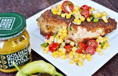 Theresa's Mixed Nuts: Chicken with Tomato Corn Salsa Honey Mustard Recipes, Honey Mustard Chicken, Corn Salsa, Food Displays, Mixed Nuts, Salmon Burgers, Food To Make, Veggies, Meals
