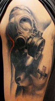 Gas Mask Beauty Tattoo by Alex Gotza Gas Mask Tattoo, S Tattoo, Leg Tattoos, Cool Tattoos, Gas Mask Art, Masks Art, Gas Masks, Sharpie Tattoos, Line Artwork