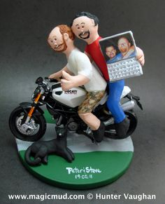 Gay Motorcyclist Wedding Cake Toppers custom made for same sex weddings!...handmade to order to your specifications. Gay Wedding Cake Topper    $250   #magicmud   1 800 231 9814   www.magicmud.com