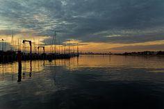 Melbourne CBD from Brighton Pier by camjrobinson, via Flickr | #landscape #seascape  #silhouette #water #clouds #orange