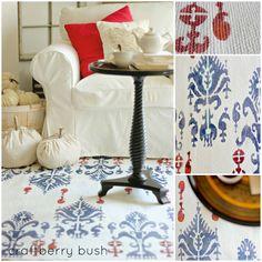 Craftberry Bush: Ikat stenciled rug and a Cutting Edge Stencil.