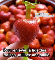 Ici pas besoin de pince pour équeuter vos fruits rouges. Après les avoir lavés, il suffit d'utiliser une paille en plastique.  Découvrez l'astuce ici : http://www.comment-economiser.fr/equeuter-les-fraises.html?utm_content=buffer2163f&utm_medium=social&utm_source=pinterest.com&utm_campaign=buffer