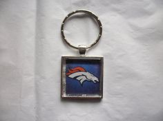 Denver Broncos NFL Football Silver Keychain Pendant by BadCatCraft