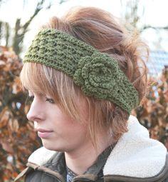 Crocheted Earwarmer Headband Fits heads 22  24  or por slouchiehats, $15.00