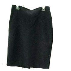 Black pencil skirt Basic tight pencil skirt, zig zag detail on front, fake pockets on back, back slit, back zipper. Polyester, rayon, spandex. No lining. Forever 21 Skirts Pencil