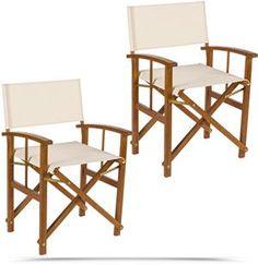 Coppia di sedie regista richiudibile in legno seduta in tessuto resistente