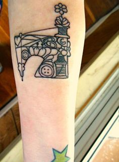 Sewing Machine Tattoo by ~Ashler-Sauce // this is the singer sewing book design, what a great idea for a tattoo. thumbs up to whoever got this.