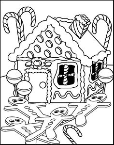 IColor Gingerbread Houses Coloring Pages