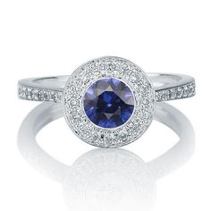 Sapphire and Diamonds Ring, 14K White Gold, Sapphire Gold Ring, Vintage Sapphire ring, Vintage Engagement ring on Etsy, $1,750.00