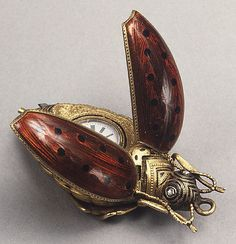 19th C. Swiss watch Gold and enamel bug.