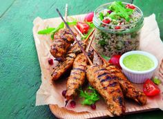 Recipe: Peruvian chicken skewers with lime yoghurt, quinoa tabbouleh and pomegranate dressing Lamb Recipes, Wine Recipes, Chicken Recipes, Cooking Recipes, Lime Chicken, Chicken Wings, Chefs, Peruvian Chicken, Quinoa Tabbouleh