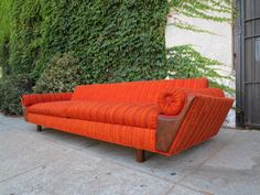 "mid century sofa, tag reads ""Exotic Flame, 1968"" $1450  Sold"