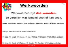 Werkwoorden | www.nazia.nl – De klas enzo… School Info, School Tool, School Hacks, Learn Dutch, Learn English, Teacher Education, Kids Education, Dutch Language, Co Teaching