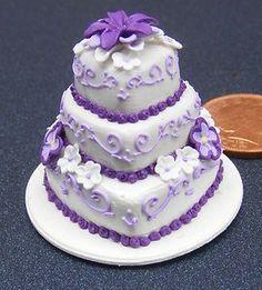 1;12 Scale Purple & White 3 Tier Wedding Cake Dolls House Miniature Accessory ZE | eBay