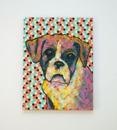 Boxer Dog Painting  Original paintingby EBNArtStudio