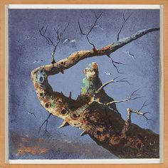 På en gren, 1980 Fargelitografi, 127/170, 61 x 61 cm Signert nede til høyre: Håkon Gullvåg Hakone, Sculptures, Fine Art, Prints, Photography, Painting, Photograph, Fotografie, Painting Art