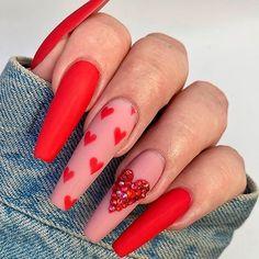 Installation of acrylic or gel nails - My Nails Coffin Shape Nails, Coffin Nails Long, Swag Nails, My Nails, Heart Nails, Valentine's Day Nail Designs, Nails Design, Salon Design, Long Nails