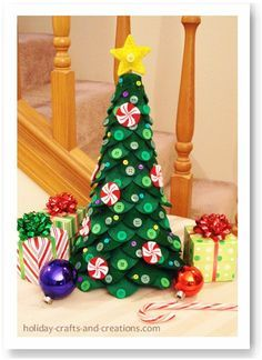 ~ Felt Christmas Tree Centerpiece w/ Buttons ~