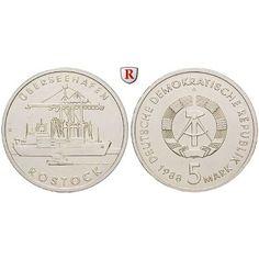 DDR, 5 Mark 1988, Rostock, st, J. 1619: Kupfer-Nickel-5 Mark 1988. Rostock. J. 1619; stempelfrisch 5,00€ #coins