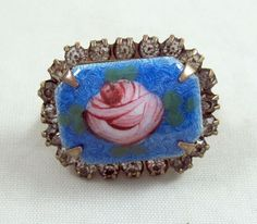 Pink Rose Blue Guilloché Pin Blue Vintage Rhinestone Border Brooch Antique #Unbranded