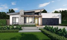 The Admiral with the Gilbraltar Facade is on display and ready for you to experience at our new McDonald Jones Ginninderry display centre in the ACT. Flat Roof House, Facade House, House Front, Contemporary House Plans, Modern House Plans, Small House Plans, Modern House Facades, Modern Architecture, Villa