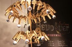 Hair dyer chandelier--would love to see this at a salon!