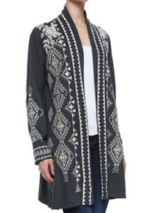 Johnny Was Plus Size Embroidered Cotton Jacket / Cardigan