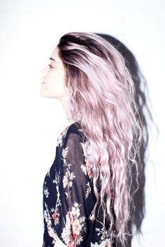 Deep dark roots with soft pastel lavender long long long hair.  Rocker chic.