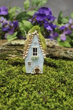 Sky Blue Fairy Willow House 3 3/4 inches tall fairy by FairyWillow