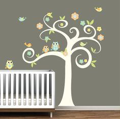 Nursery Swirl Vinyl Wall Decal Tree with by Modernwalls on Etsy, $99.00