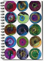 Art journal page with circles cut from magazines