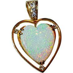 14K Large Australian Opal Heart & Diamond Pendant Necklace found at www.rubylane.com @rubylanecom