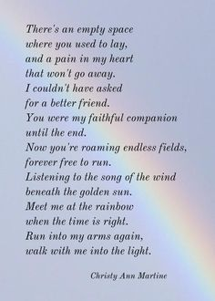 Loss of Pet Gift - Dog Memorial Poem - Cat Loss - Rainbow Pet Loss Forever Free Poem Pet Loss Gifts - Pet Memorial Prints - Meet Me at the Rainbow For. Loss of Pet Gift - Dog Memorial Poem - Cat Loss - Rainbow Pet Loss Forever Free Poem Pet Poems, Pet Quotes Dog, Pet Loss Quotes, Animal Quotes, Love Loss Quotes, Pet Loss Grief, Loss Of Dog, Dog Loss Poem, Losing A Pet Quotes