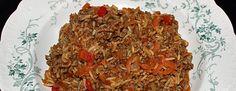 Gryderet - Basis opskrift ris og hakket oksekød