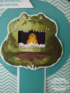 stampin aquapainter colored crocodile crocko big mouth art Impression pull Card men  Krokodil ziehkarte Wassertankpinsel coloriert birhday Card Geburtstag Männer