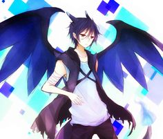Mega Charizard Gijinka Cuernos Alas Azul Cabello Azul Chaleco Musculosa Bendas Cola Fuego Pantalones Pokemon Anime Ojos Rojos