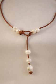 Leather and pearls by Alison Craft Designs